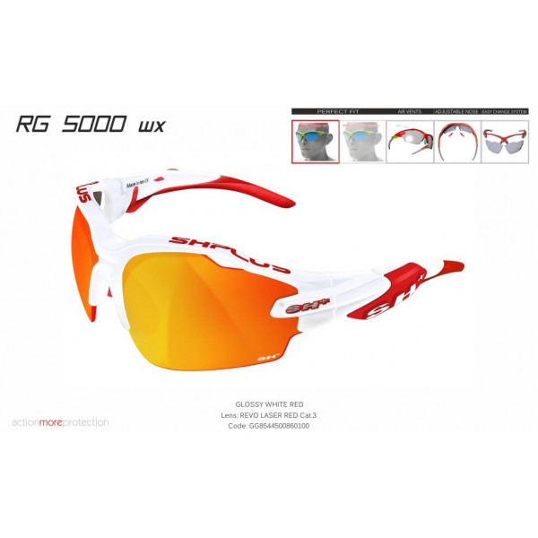 "MULTISPORT - GLASSES ""RG 5000 WX"" WHITE/red revo laser red cat.3"