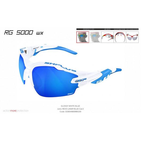 OCCHIALE SPORTIVO RG 5000 WX BIANCO/blu lente specchiata blu cat.3
