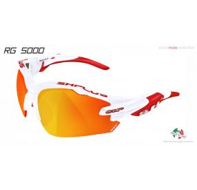 OCCHIALE SPORTIVO RG 5000 BIANCO/rosso lente specchiata rossa cat.3