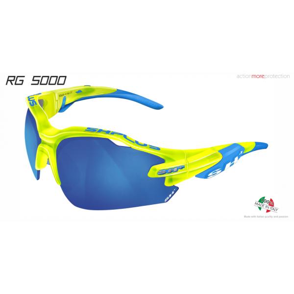 OCCHIALE SPORTIVO RG 5000 TRASPARENTE GIALLO/ blu lente specchiata blu cat.3