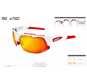 "MULTISPORT - GLASSES ""RG 4750"" WHITE/red-ML REVO LASER RED cat.3"