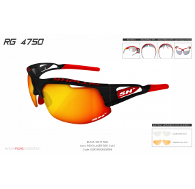 "MULTISPORT - GLASSES ""RG 4750"" BLACK MATT/red-ML REVO LASER RED cat.3"