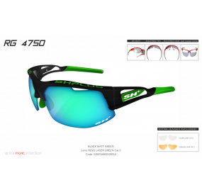 "MULTISPORT - GLASSES RG 4750"" BLACK MATT/green-ML REVO LASER GREEN""cat.3"