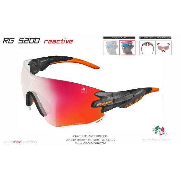 OCCHIALE SPORTIVO RG 5200 REACTIVE FLASH GRAFITE/arancione cat.1-3