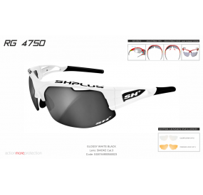 "MULTISPORT - GLASSES RG 4750"" WHITE/black-SMOKE LENS""cat.3"