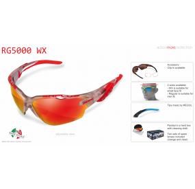 "OCCHIALE SPORTIVO RG 5000 WX TRASPARENTE SILVER lente specchiata rossa cat.3"""