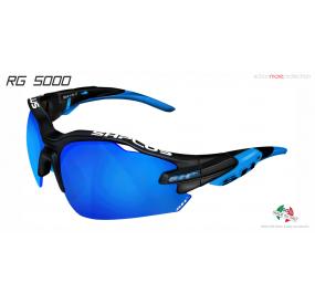 OCCHIALE SPORTIVO RG 5000 NERO OPACO/blu lente specchiata blu cat.3
