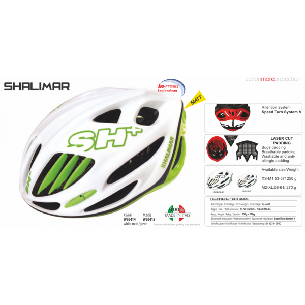 BIKE HELMET SHALIMAR WHITE MATT/GREEN