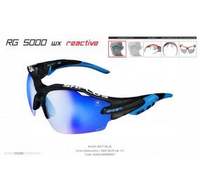 OCCHIALE SPORTIVO RG 5000 WX REACTIVE FLASH NERO OPACO/blu lente fotocromatica blu cat.1-3