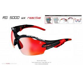 OCCHIALE SPORTIVO RG 5000 WX REACTIVE FLASH NERO OPACO/rosso lente fotocromatica rossa cat.1-3
