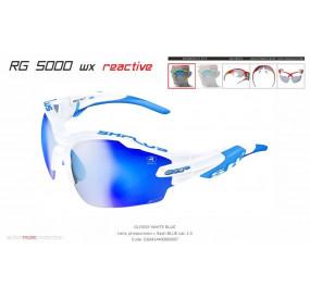 OCCHIALE SPORTIVO RG 5000 WX REACTIVE FLASH BIANCO/blu lente fotocromatica blu cat.1-3